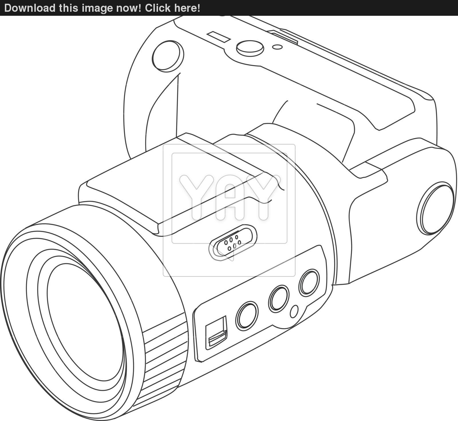 1600x1470 Camera Line Drawing Vector
