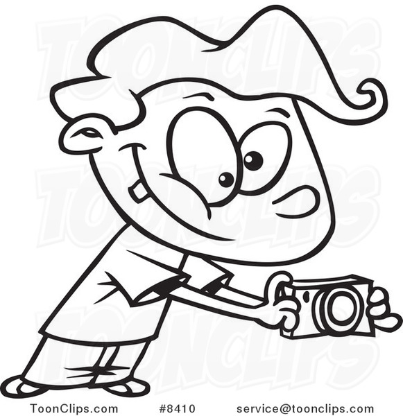 581x600 Cartoon Black And White Line Drawing Of A Boy Using His Camera