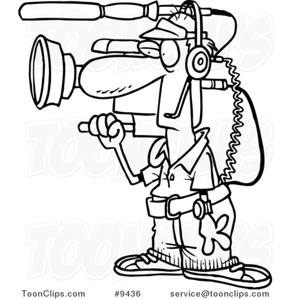 581x600 Cartoon Black And White Line Drawing Of A Working Camera Guy