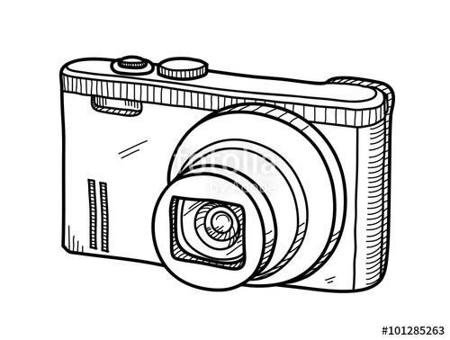 500x378 Digital Camera Doodle, A Hand Drawn Vector Doodle Illustration