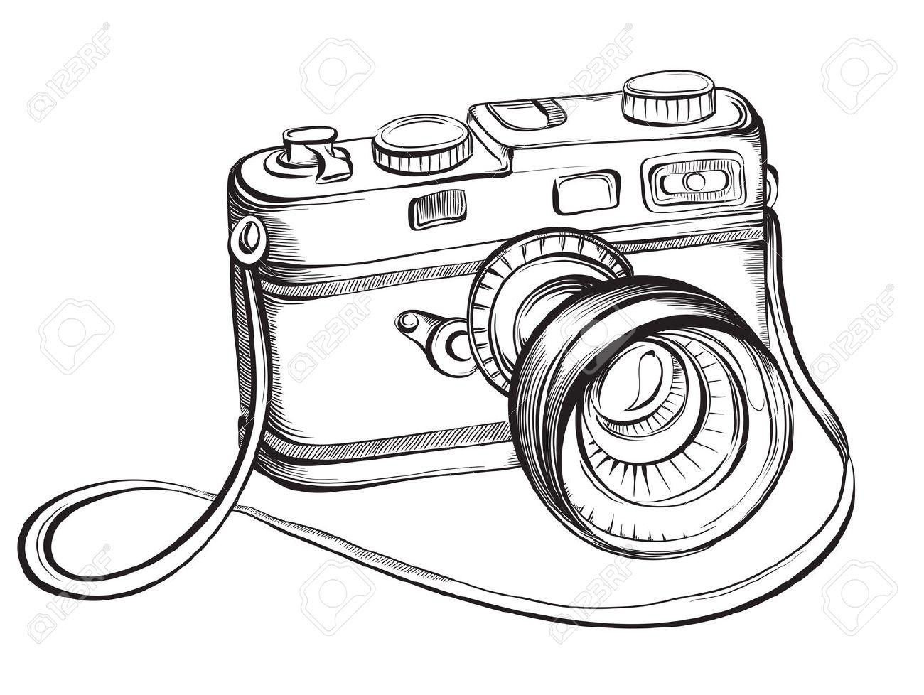 1300x978 Sketch Vintage Retro Photo Camera. Vector Hand Drawn Illustration