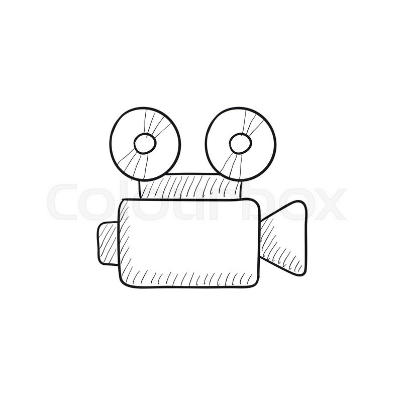 800x800 Video Camera Vector Sketch Icon Isolated On Background. Hand Drawn