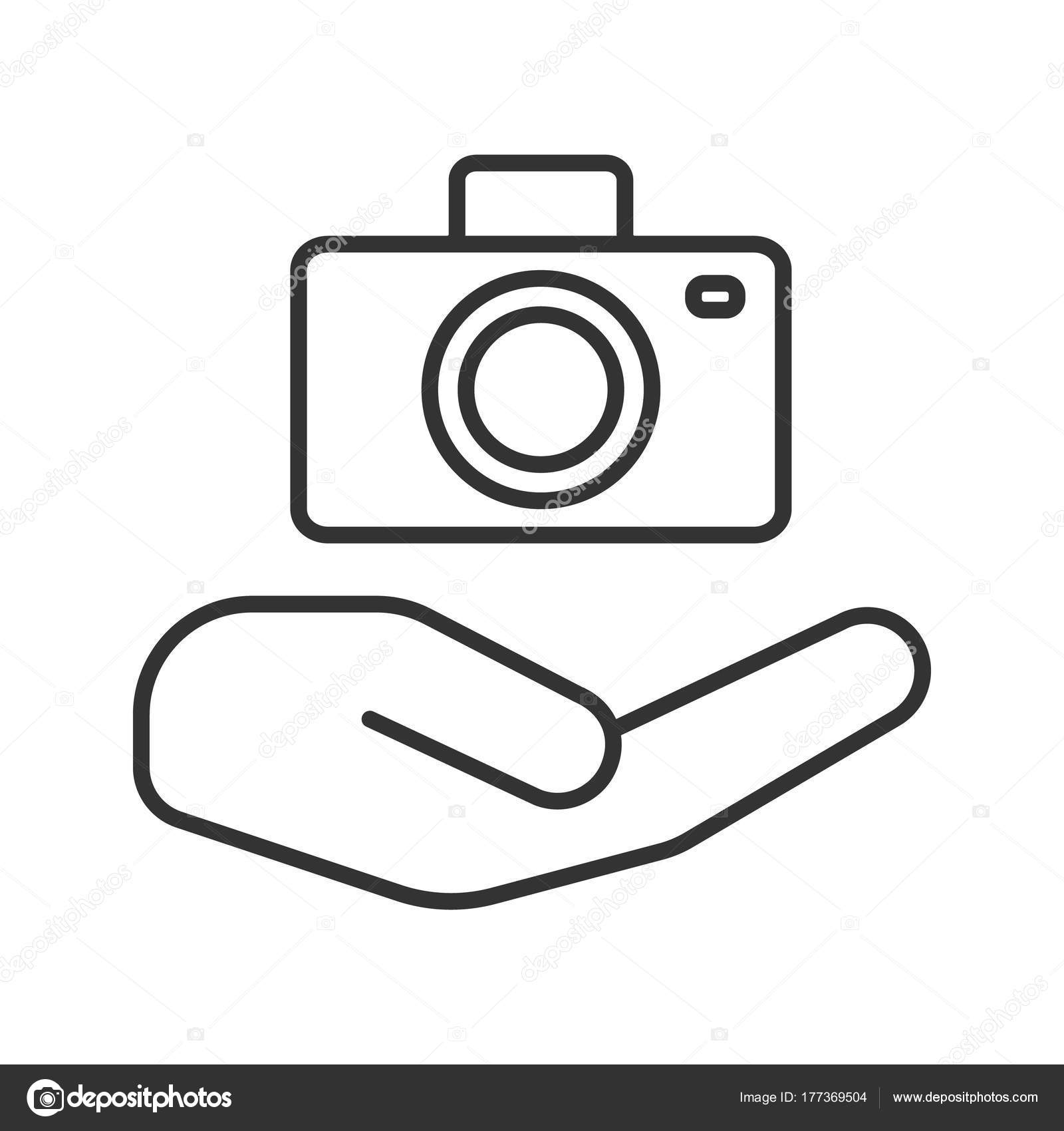 1600x1700 Open Hand Camera Linear Icon Photo Services Thin Line Illustration