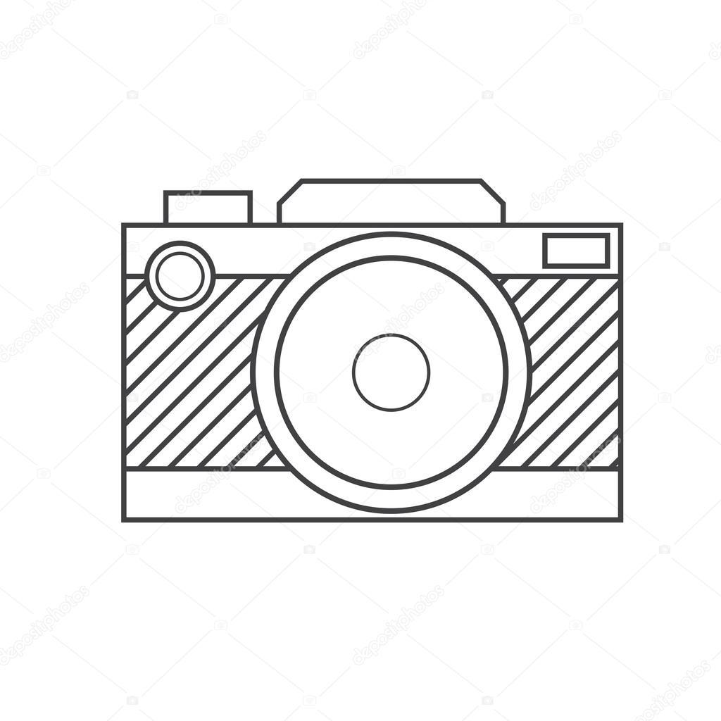 1024x1024 Retro Camera Outline Icon Stock Photo