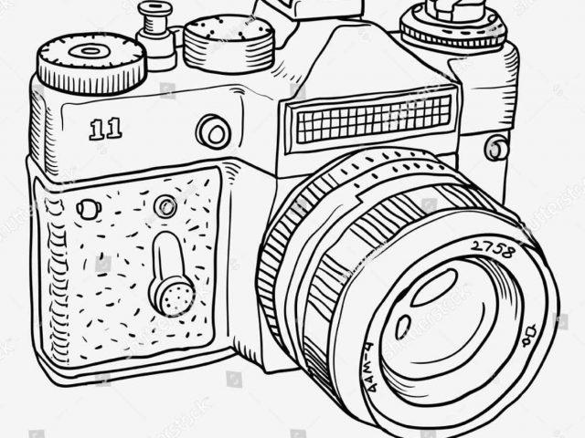 640x480 Retro Icon Line Retro Vintage Camera Outline Icon Line Stock
