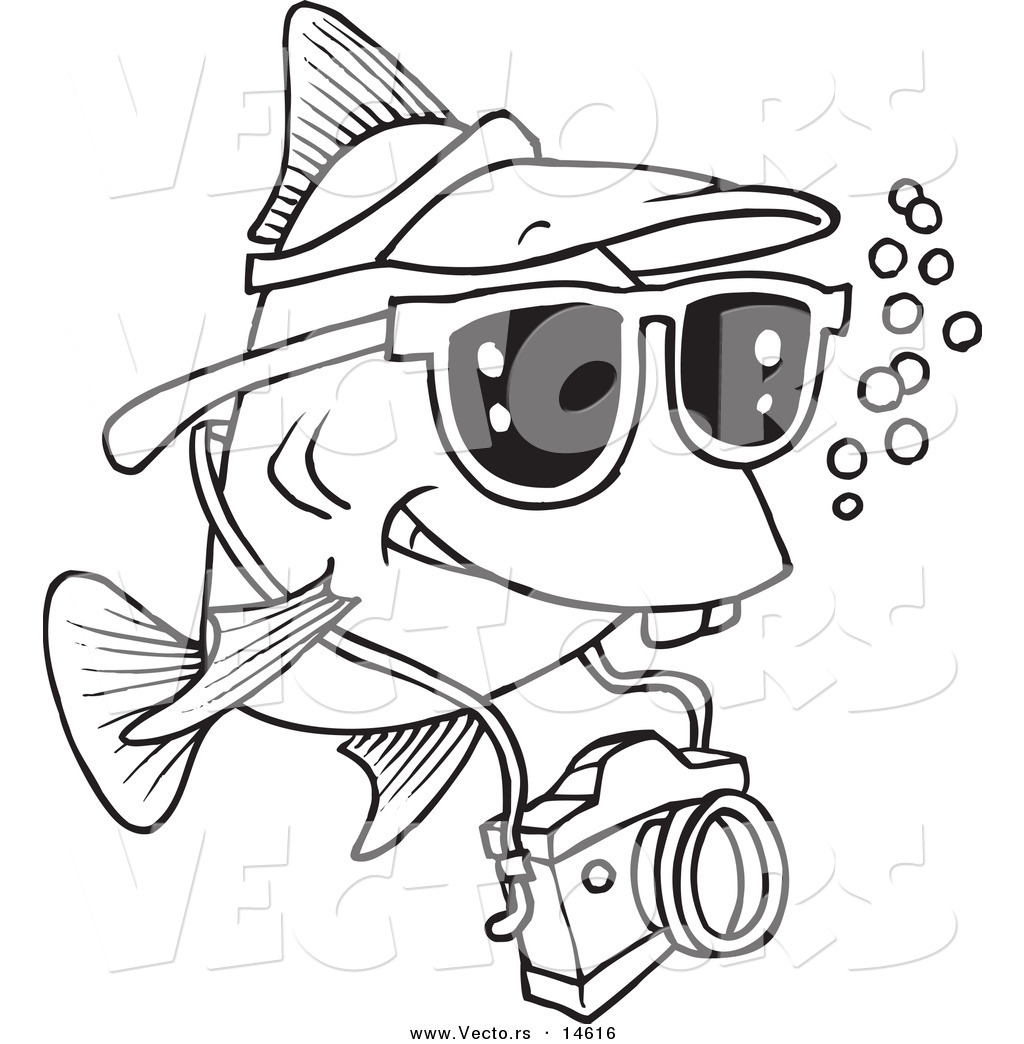 1024x1044 Vector Of A Cartoon Fish Tourist Swimming With A Camera
