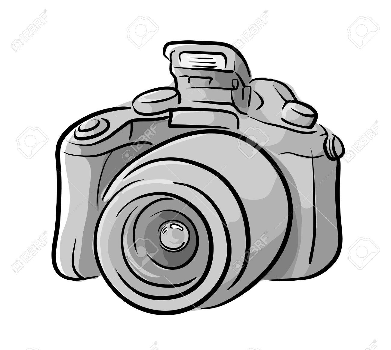 1300x1161 Dslr Camera, A Hand Drawn Vector Illustration Of A Dslr Camera