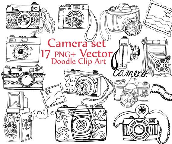 570x475 Doodle Camera Clipart Camera Clip Art Camera Vector Cute