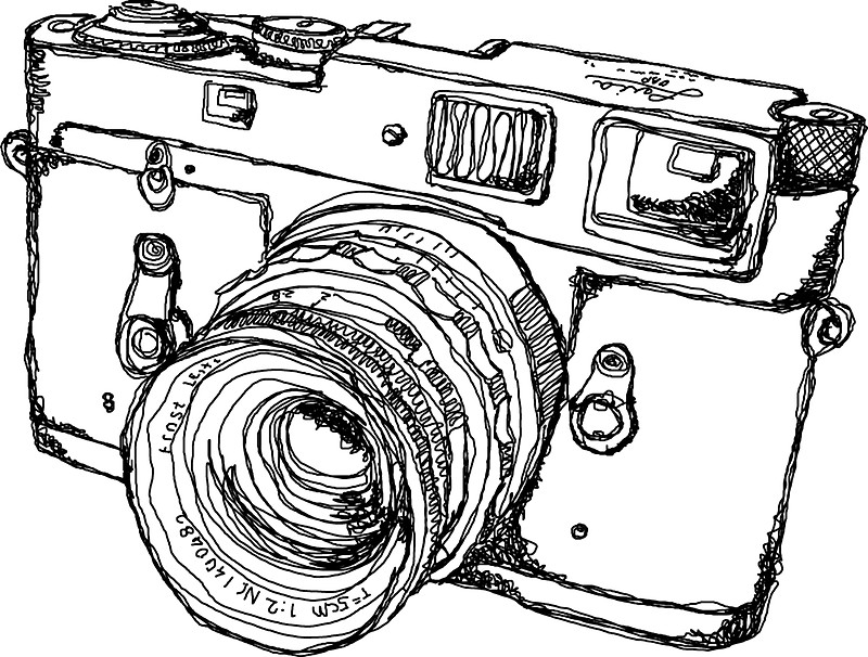 800x606 Rangefinder Style Camera Drawing Stickers By Strayfoto Redbubble
