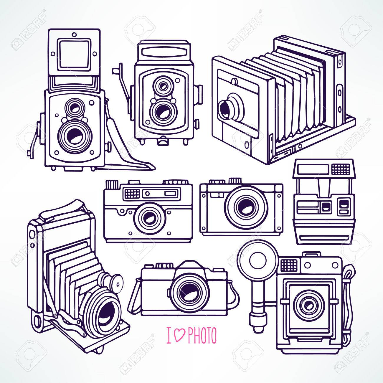 1300x1300 Set With Different Vintage Cameras. Hand Drawn Illustration