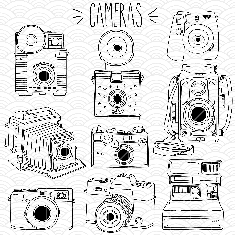 3000x3000 Cameras Hand Drawn Vector