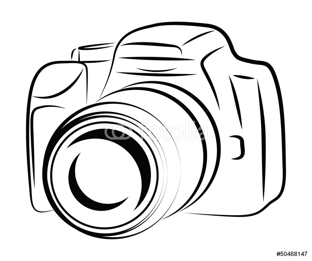 1000x839 Contour Camera Drawing Wall Sticker Wall Stickers
