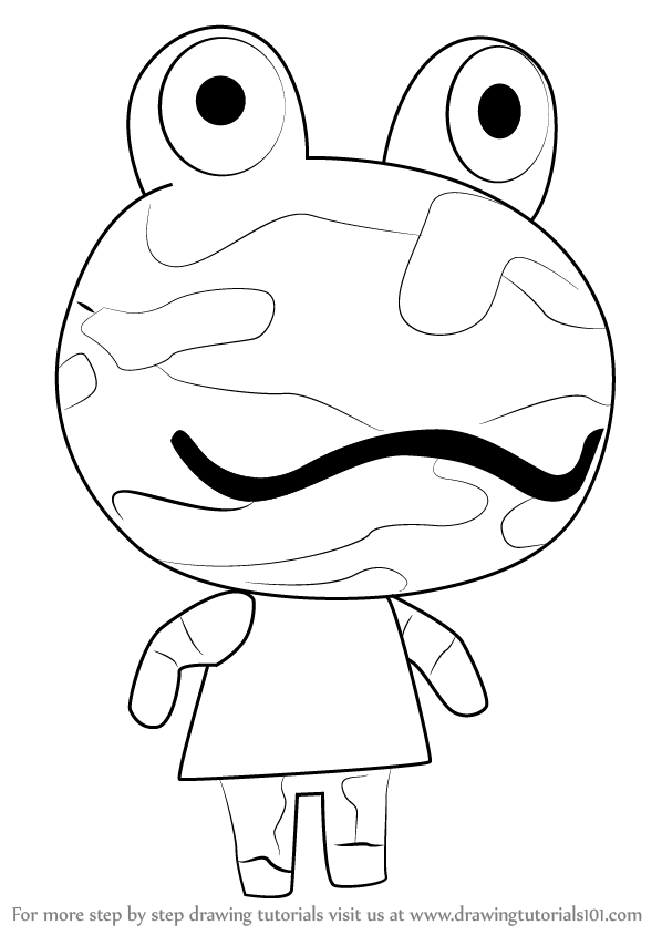 598x844 Learn How To Draw Camofrog From Animal Crossing (Animal Crossing