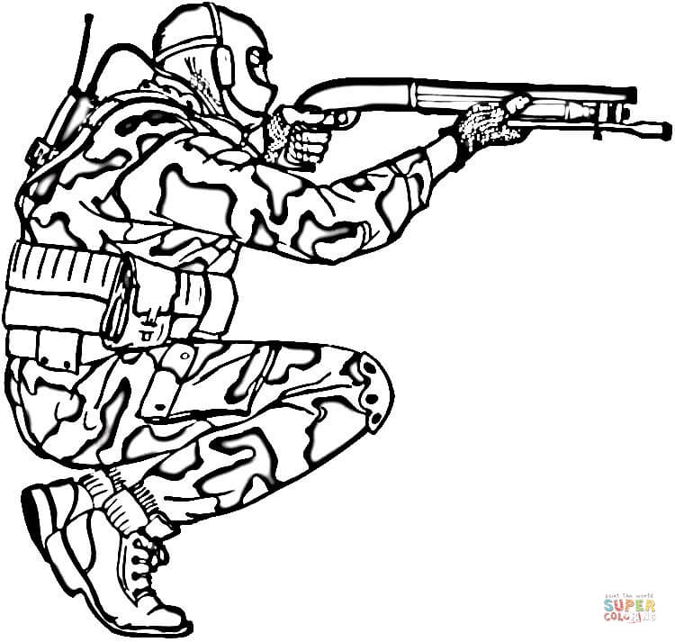 750x713 Soldier In Camouflage Coloring Page Free Printable Coloring Pages