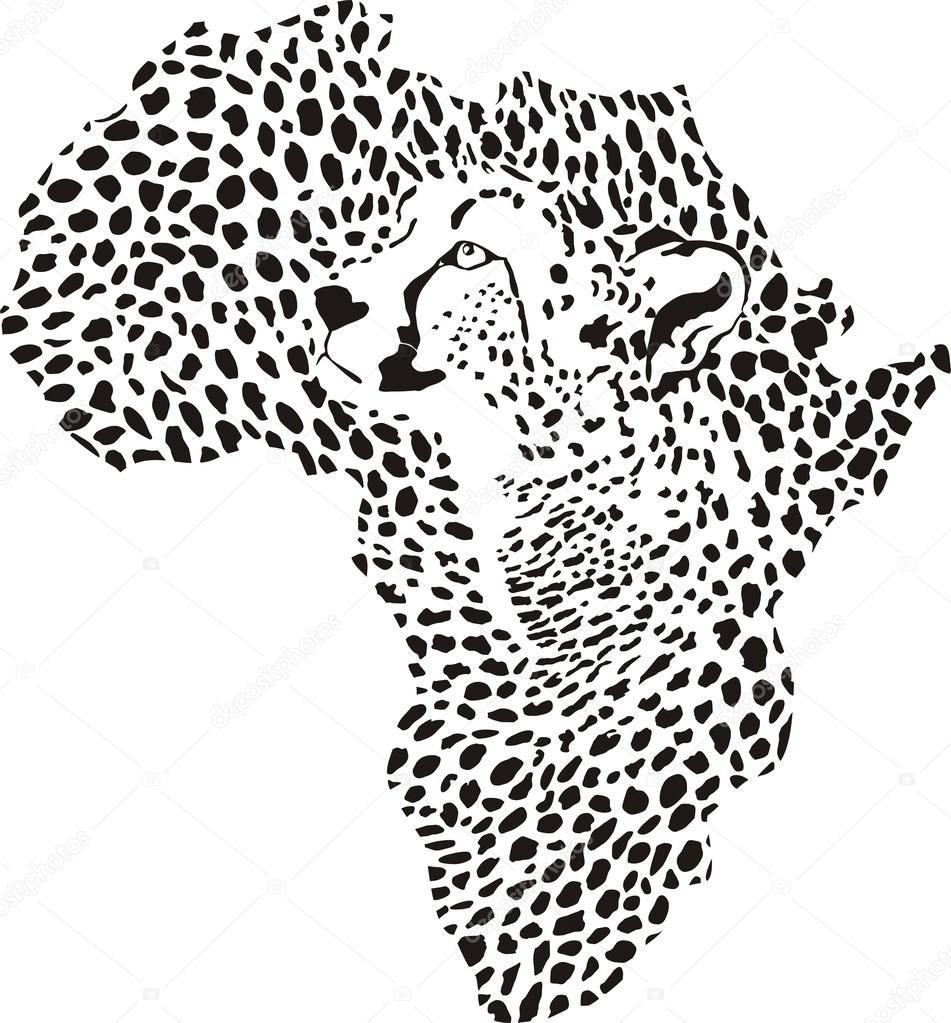 951x1023 Africa In A Cheetah Camouflage Stock Vector Vlado