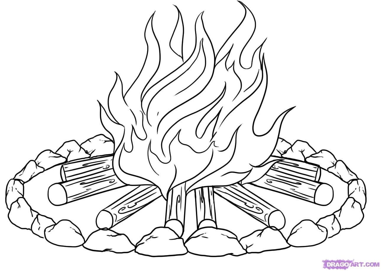 1289x918 Campfire Pictures To Color How To Draw A Campfire Step 6
