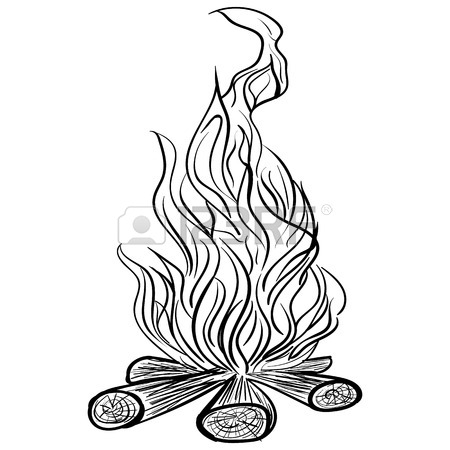 450x450 Illustration Of Isolated Camp Fire On White Background. Monochrome