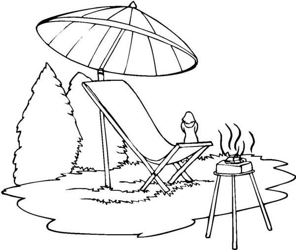600x507 Summer Camp Barbeque Coloring Page