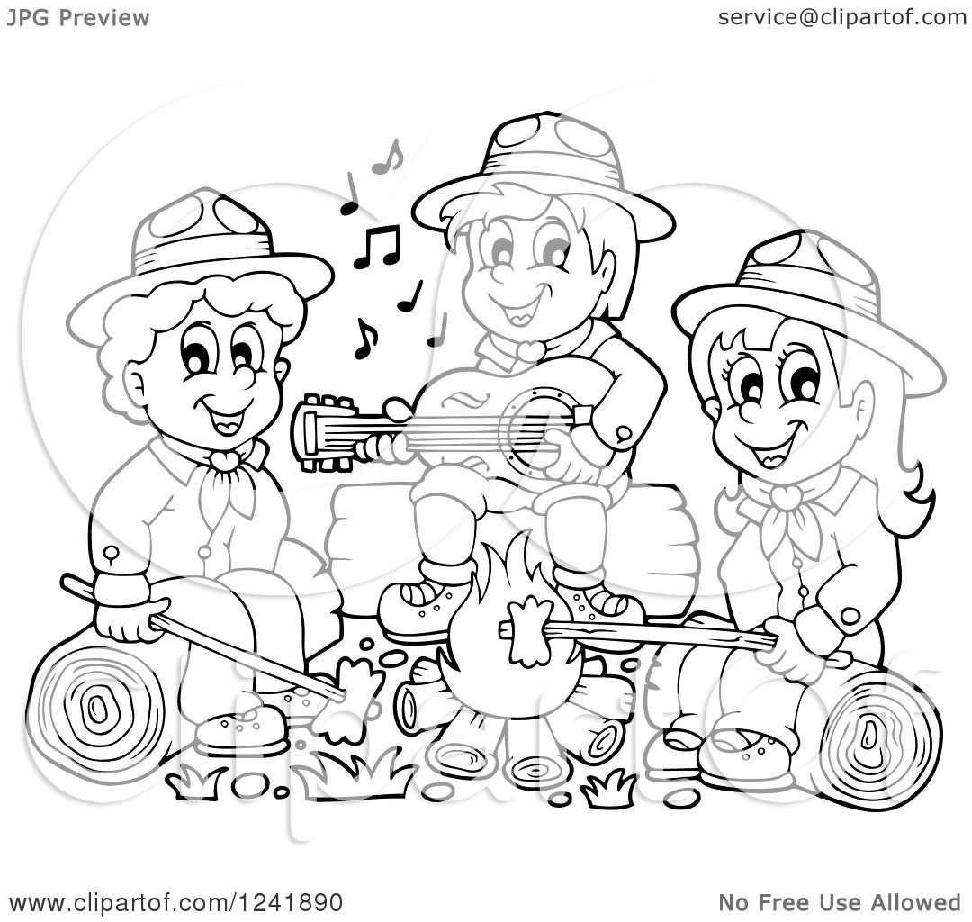 1080x1024 Clipart Of Black And White Boy Girl Scouts Singing Around A
