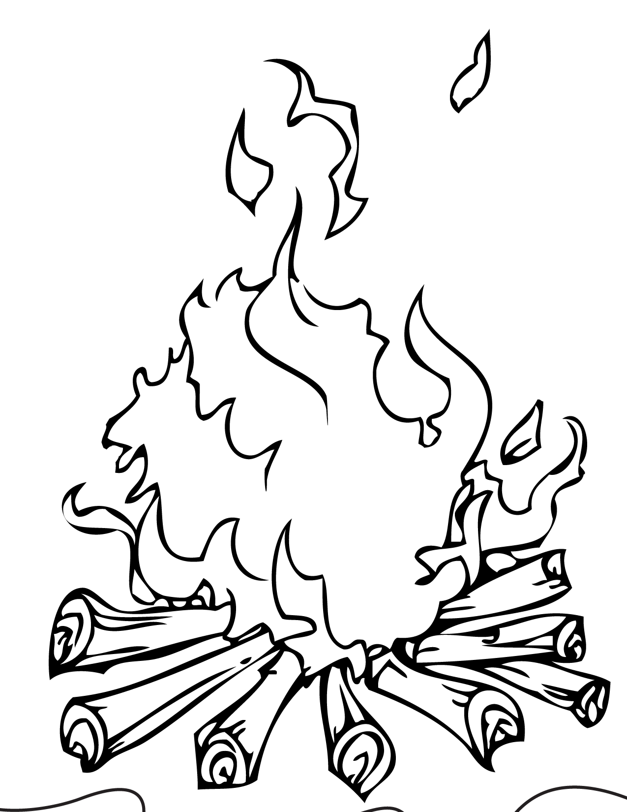 1275x1650 Campfire Coloring Page Handipoints Throughout Flame