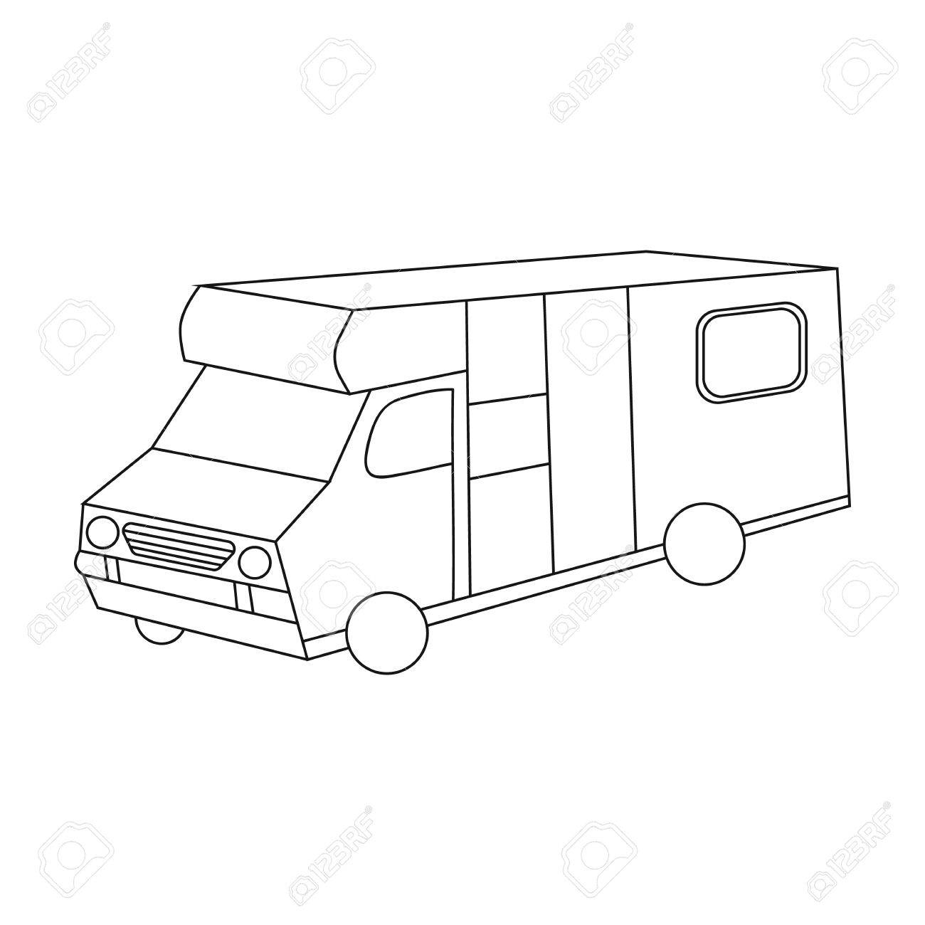 1300x1300 Campervan Icon In Outline Style Isolated On White Background