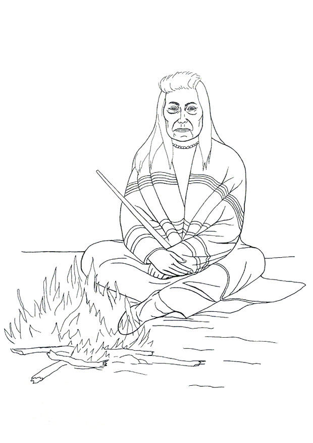 620x875 Coloring Page Native American Campfire