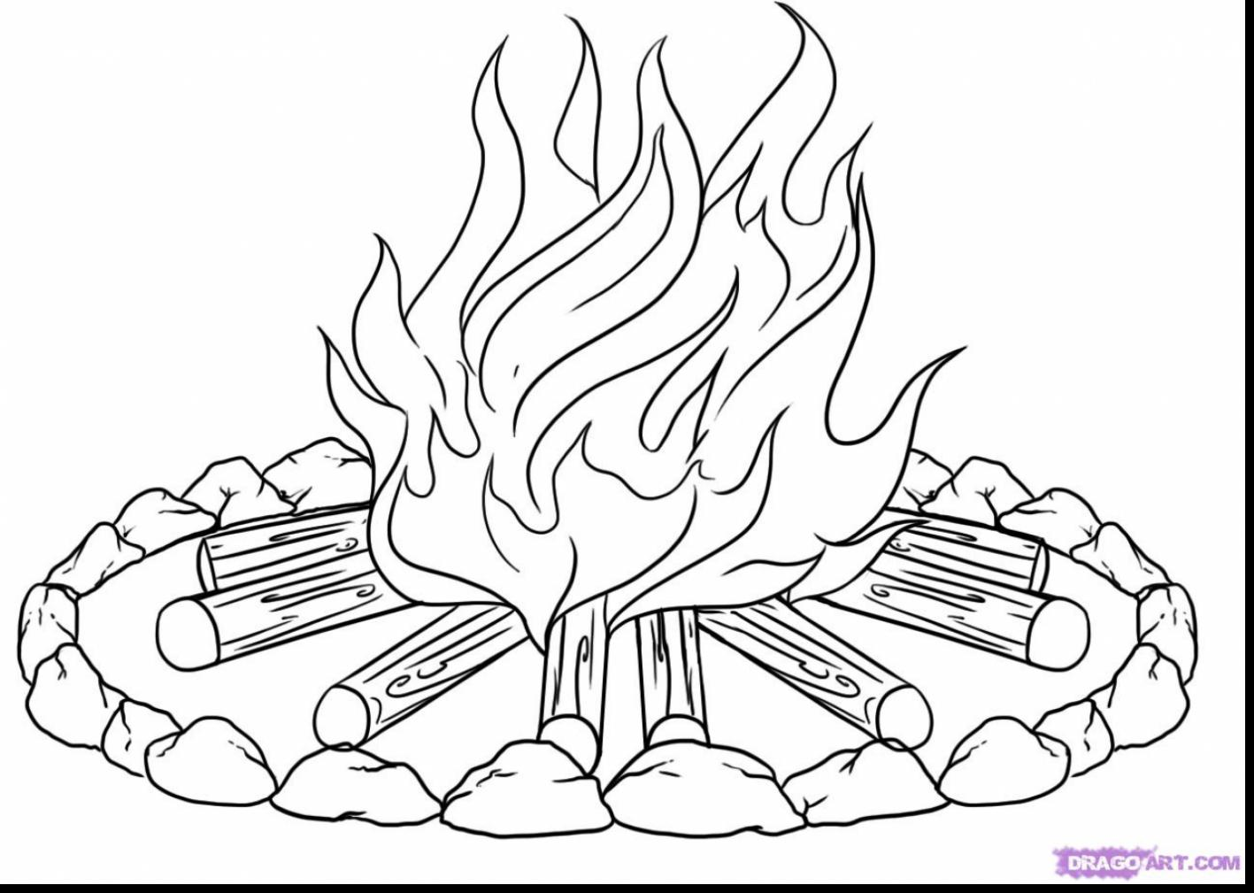 1417x1009 Fire Coloring Pages Impressive Flames With And Flame Page