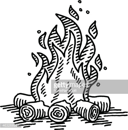 412x417 Hand Drawn Vector Drawing Of A Camp Fire. Black And White Sketch