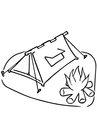 339x480 Tent And Campfire Coloring Page Free Printable Coloring Pages