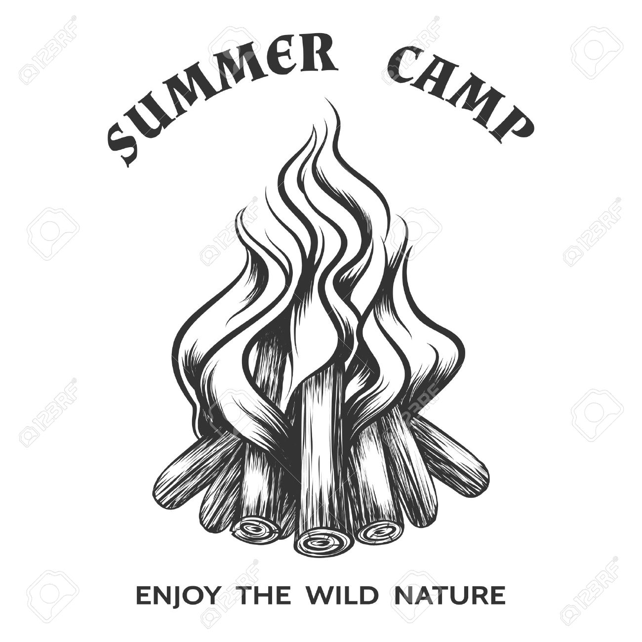 1300x1300 Vector Poster With Hand Drawn Campfire. Flame And Burn, Firewood