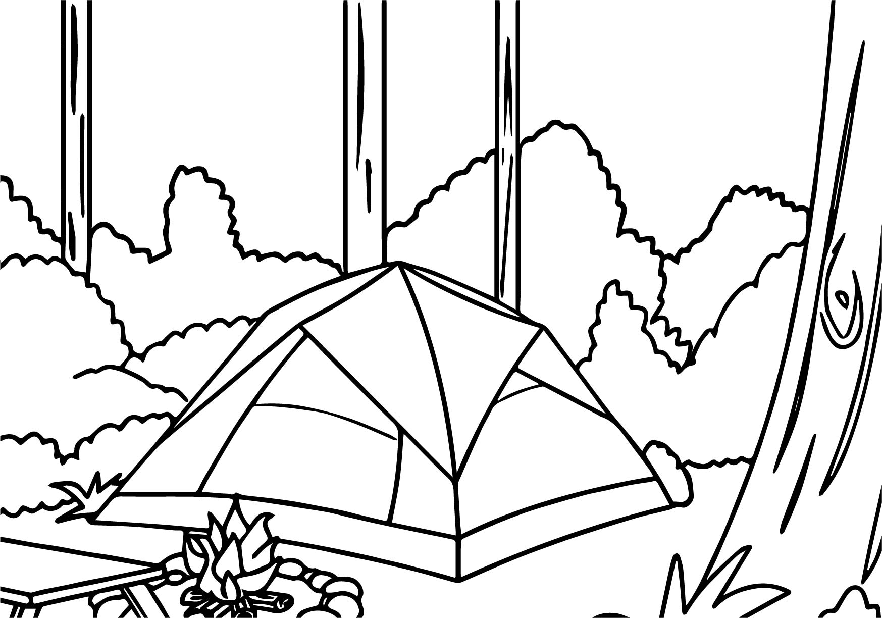 1747x1224 Camping Forest Coloring Page Wecoloringpage