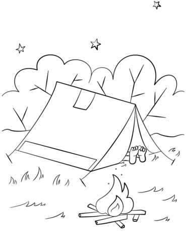 371x480 Camping Scene Coloring Page Free Printable Coloring Pages