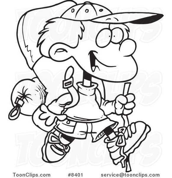 581x600 Cartoon Black And White Line Drawing Of A Hiking Boy With Camping