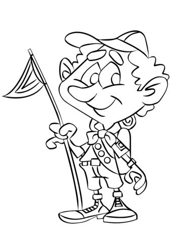 339x480 Boy Scout On A Camping Trip Coloring Page Free Printable