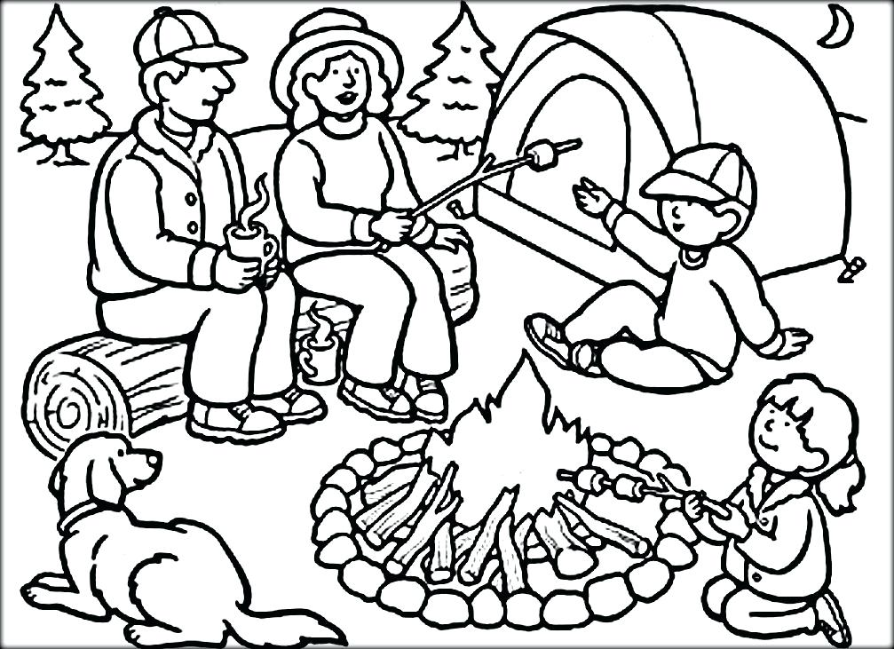 1007x731 Top Rated Camping Coloring Pages Pictures Camping Scene Coloring