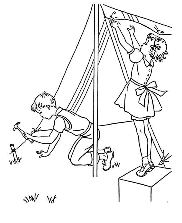600x734 Two Kids Building Camping Tent Coloring Page Coloring Sun