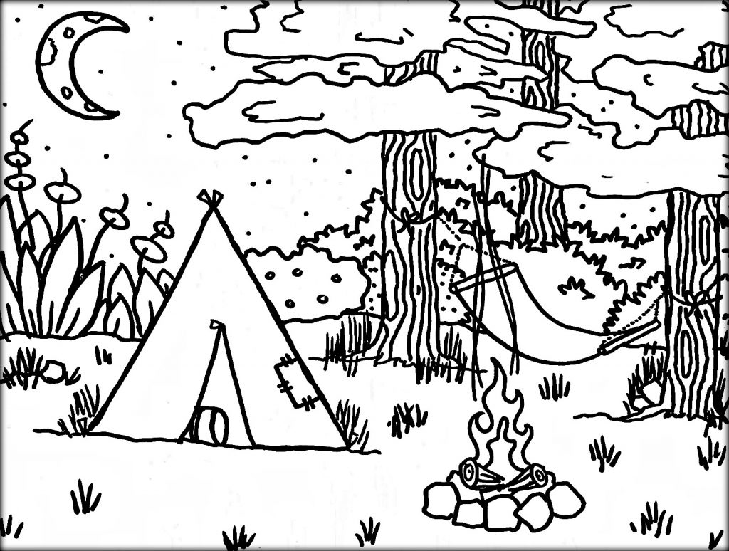 1024x774 Camping Coloring Sheets Preschool To Amusing Draw Page Kids