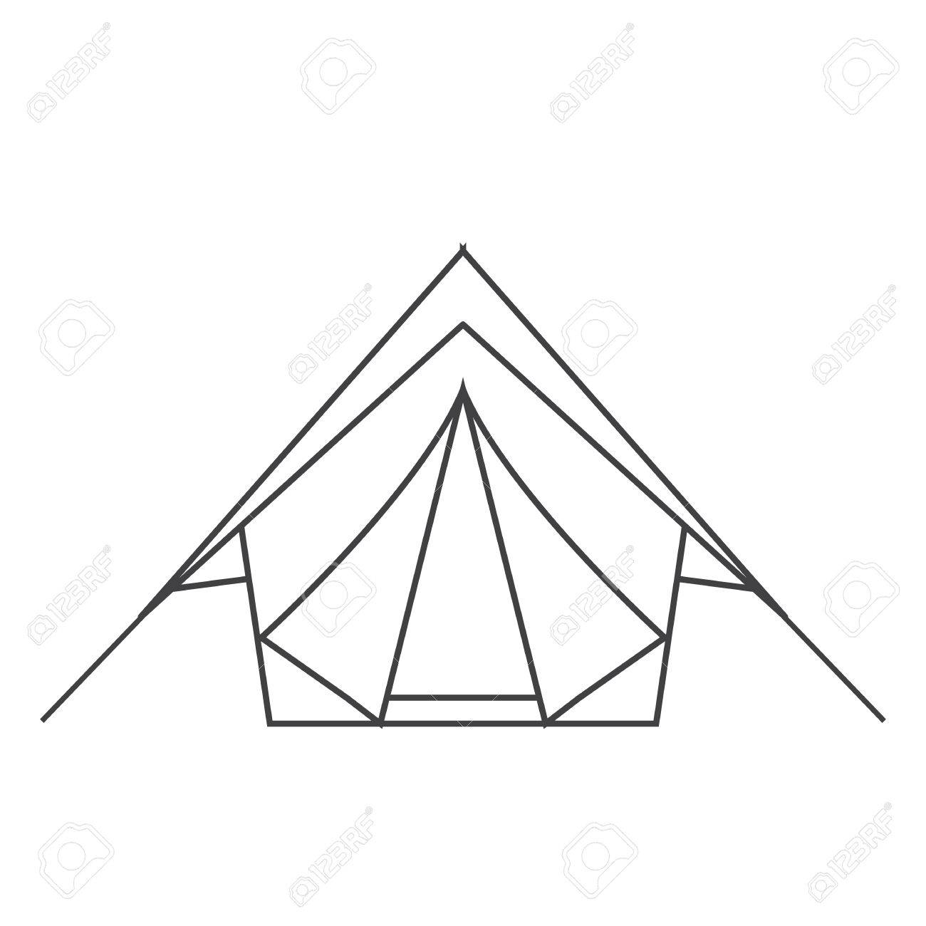 1300x1300 Camping Tent Vector Thin Line Vector Icon. Adventure Outline
