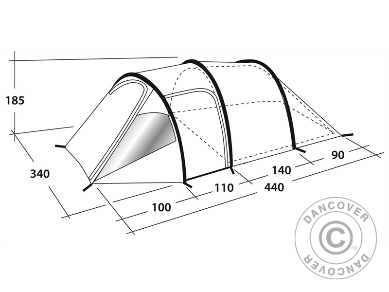 800x600 Camping Tent Outwell, Earth 5, 5 Pers., Greengrey