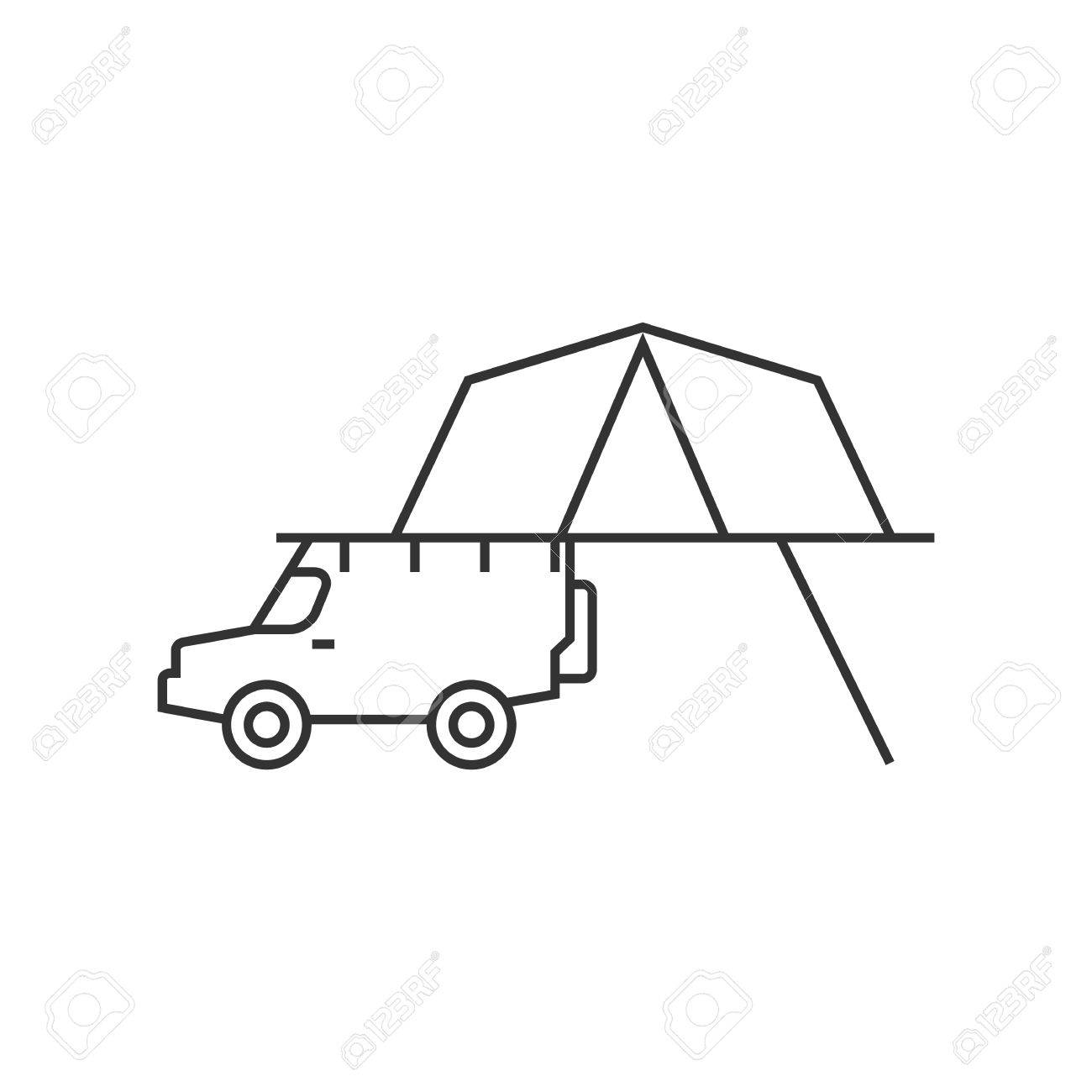 1300x1300 Portable Camping Tent Icon In Thin Outline Style. Shelter Vacation
