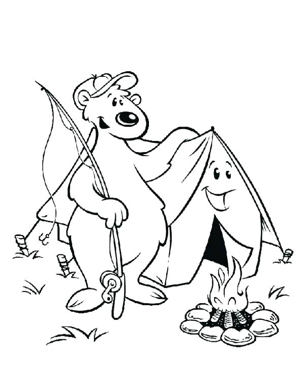 600x755 Tent Coloring Page Camping Coloring Page Camping Colouring Page