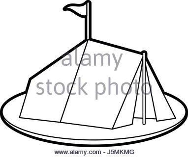 382x320 Tent In Forest Camping. Vector Illustration Made In Flat Design