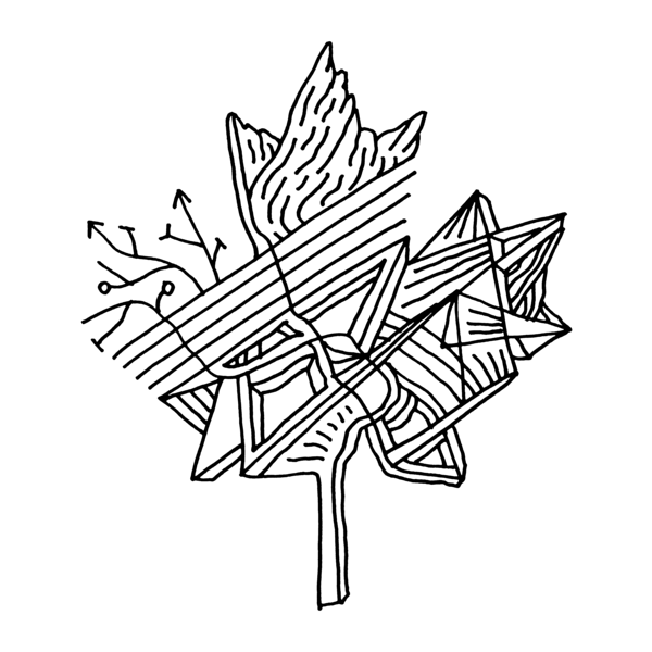 600x600 Canadian Maple Leaf Adult Colouring Page With Abstract Drawing