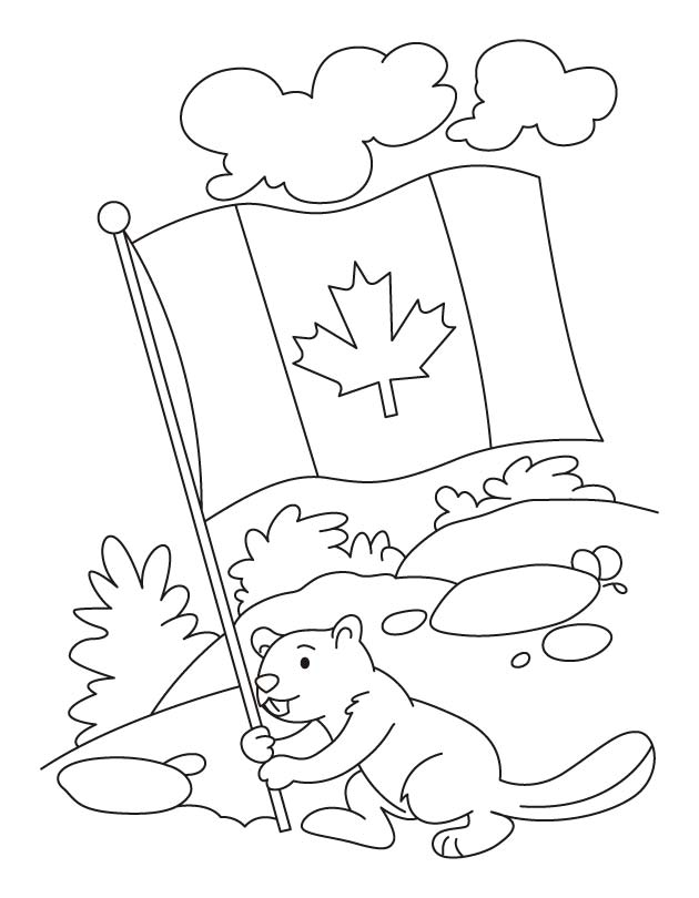 630x810 Happy Beaver Celebrating The Canada Day Coloring Pages Download