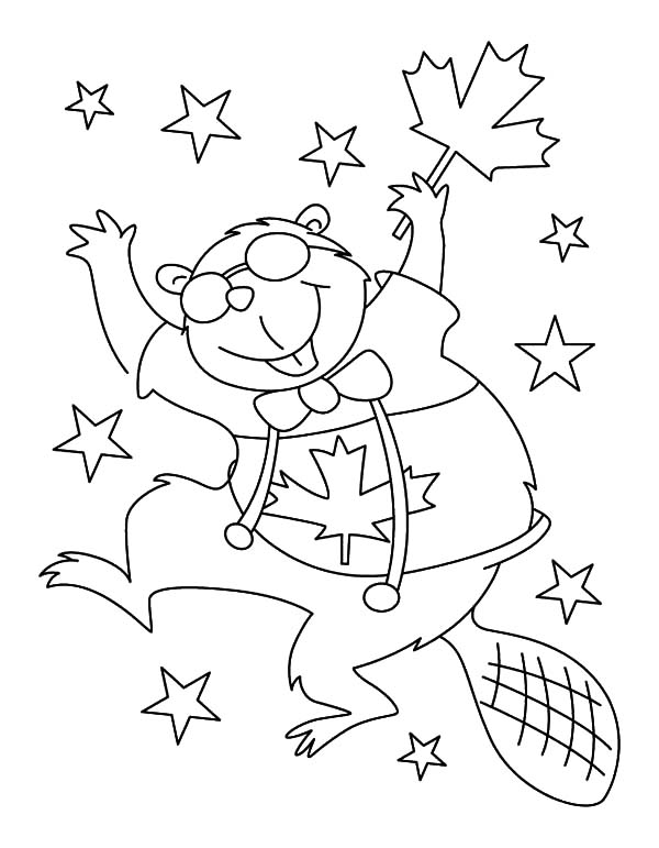 600x771 Hilarious Canadian Beaver Dancing On Memorable Canada Day Coloring