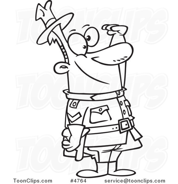 581x600 Cartoon Black And White Line Drawing Of A Saluting Royal Canadian