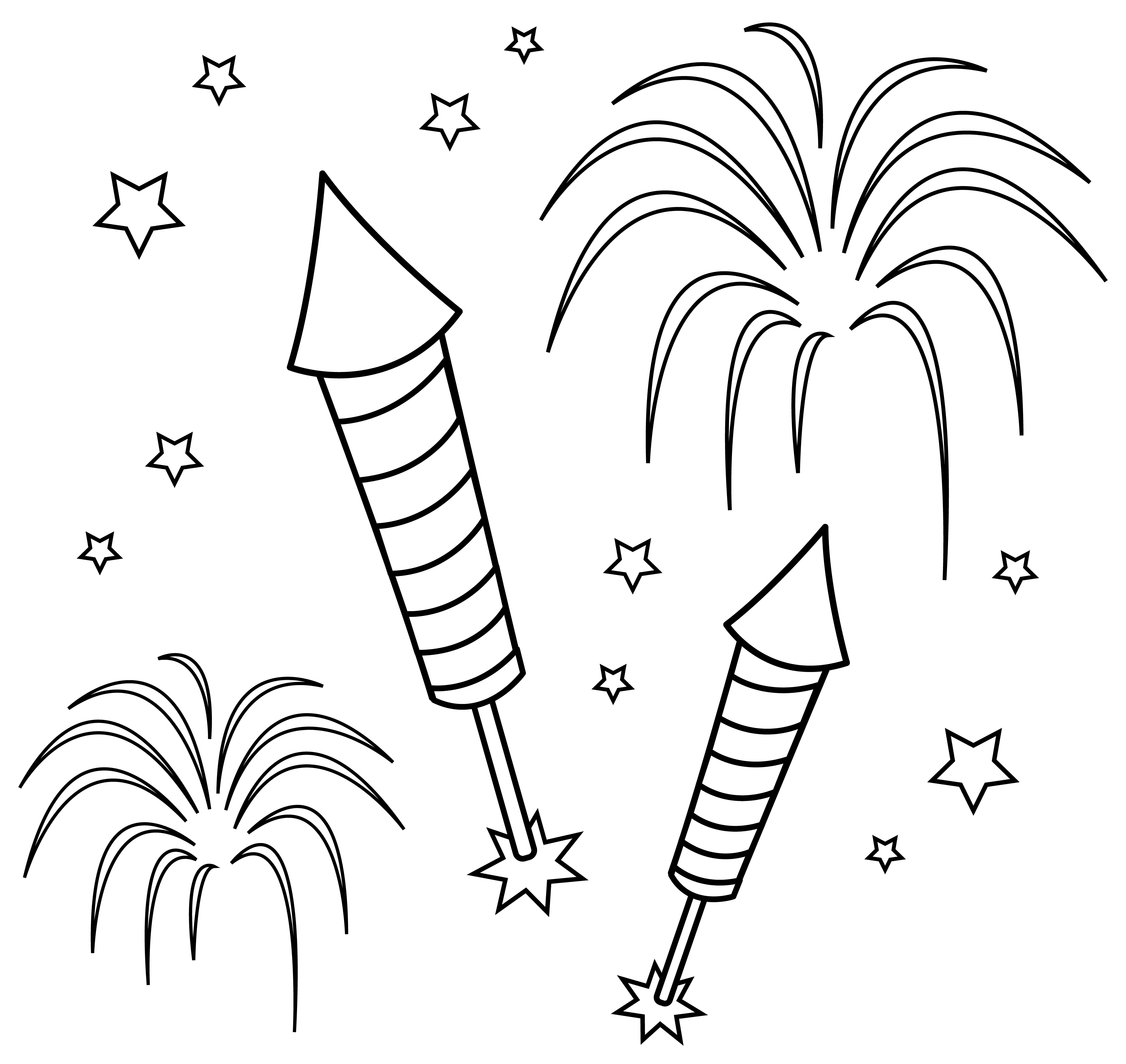 7341x6939 Fun Colorable Fireworks