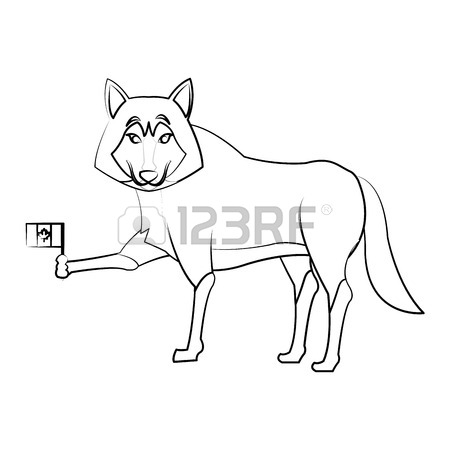 450x450 Wolf Cartoon With Flag Of Canada Icon Over White Background