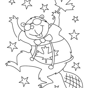 300x300 A Beaver With Canada Flag On 2015 Canada Day Event Coloring Pages