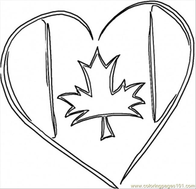 650x626 Canadian Heart Coloring Page
